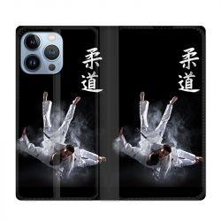 Housse Cuir Portefeuille Pour Iphone 13 Pro Max Judo Noir
