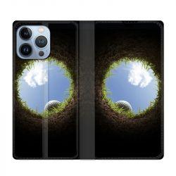 Housse Cuir Portefeuille Pour Iphone 13 Pro Max Golf Trou