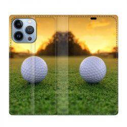 Housse Cuir Portefeuille Pour Iphone 13 Pro Max Golf Balle