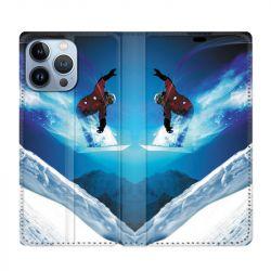 Housse Cuir Portefeuille Pour Iphone 13 Pro Max Snowboard Saut