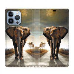 Housse Cuir Portefeuille Pour Iphone 13 Pro Max Savane Elephant Route