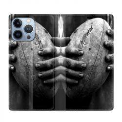 Housse Cuir Portefeuille Pour Iphone 13 Pro Max Rugby Ballon Vintage