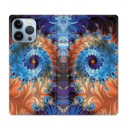 Housse Cuir Portefeuille Pour Iphone 13 Pro Max Psychedelic Spirale