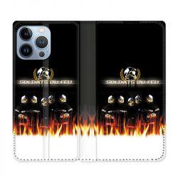 Housse Cuir Portefeuille Pour Iphone 13 Pro Max Pompier Soldat