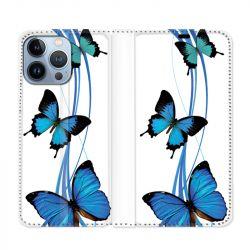 Housse Cuir Portefeuille Pour Iphone 13 Pro Max Papillon bleu sur Blanc
