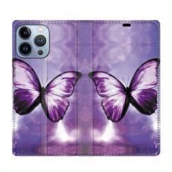 Housse Cuir Portefeuille Pour Iphone 13 Pro Max Papillon Violet et Blanc