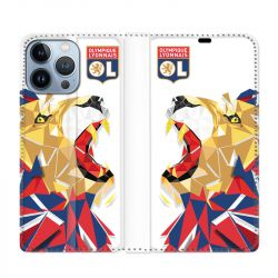 Housse Cuir Portefeuille Pour Iphone 13 Pro Max License Olympique Lyonnais OL - lion color