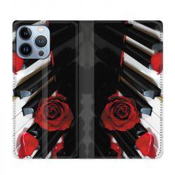 Housse Cuir Portefeuille Pour Iphone 13 Pro Max Musique Rose Piano