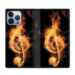Housse Cuir Portefeuille Pour Iphone 13 Pro Max Musique Clé Sol Feu N