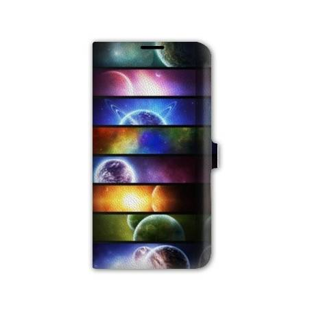 Housse cuir portefeuille cuir Iphone 6  Espace Univers Galaxie
