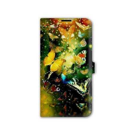housse cuir portefeuille Iphone 6 plus + papillons