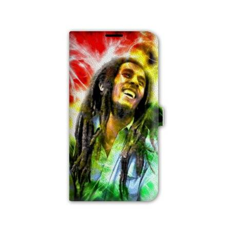 housse cuir portefeuille Iphone 6 plus + Bob Marley